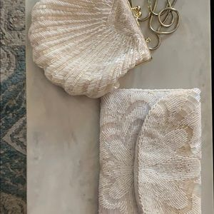 Vintage beaded white clutches/purses